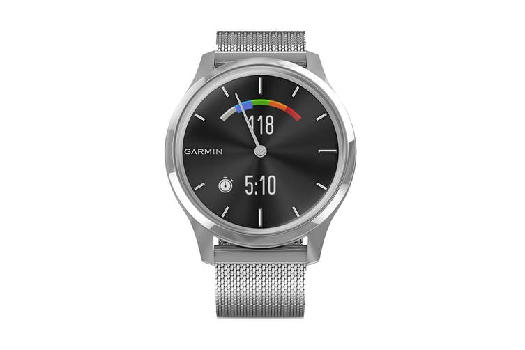 Garmin Vivomove Luxe (Silver Stainless Steel Case with Silver Milanese Band)