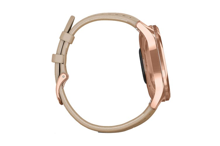 Garmin Vivomove Luxe (18K Rose Gold PVD Stainless Steel Case with Light Sand Italian Leather Band)