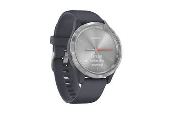 Garmin Vivomove 3S (Silver Stainless Steel Bezel with Granite Blue Case and Silicone Band)