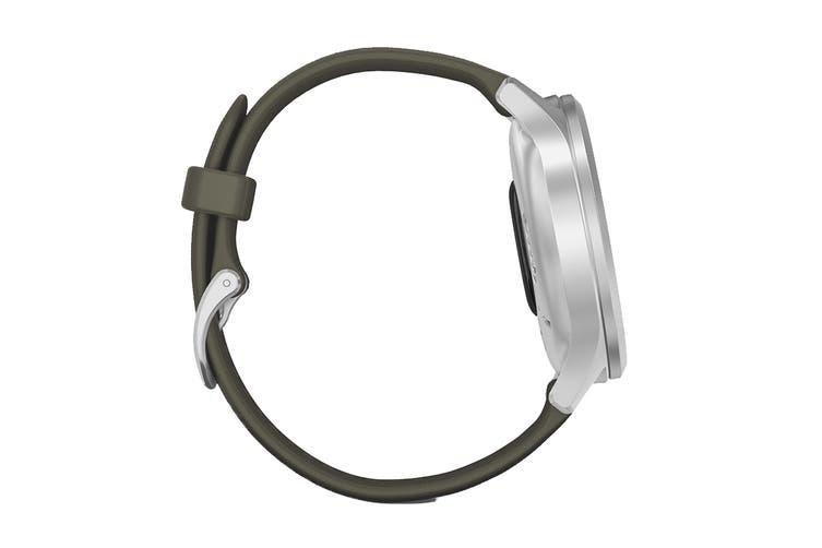 Garmin Vivomove Style (Silver Aluminum Case with Moss Silicone Band)
