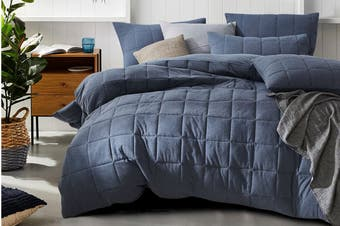 Gioia Casa Quilted Jersey Quilt Cover (Queen/Blue Ash)