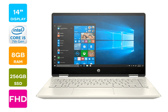"HP Pavilion x360 14"" Full HD 2-in-1 Windows 10 Home Touchscreen Laptop (i5-10210U 1.6GHz, 256GB SSD + 16GB Optane, 8GB RAM, Gold) - Certified Refurbished"
