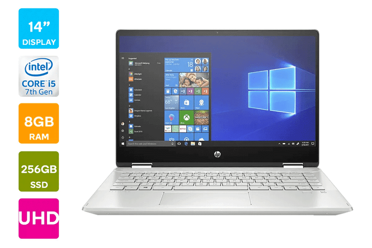 "HP Pavilion x360 14"" UHD 2-in-1 Convertible Windows 10 Home Touchscreen Laptop (i5-1021U 1.6GHz 256GB SSD, 8GB RAM, Silver) - Certified Refurbished"