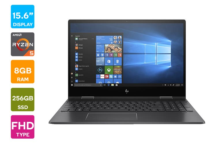 "HP ENVY x360 15.6"" Full HD Windows 10 Home 64 Touchscreen Laptop (AMD Ryzen Pro 5 3500U 2.1GHz, 256GB SSD, 8GB RAM, Nightfall Black)"