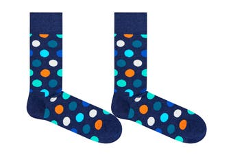 Happy Socks Big Dot Sock (Blue/Orange/Turquoise, Size 41-46)