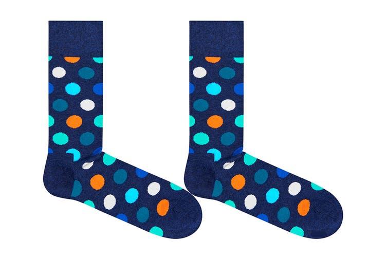 Happy Socks Big Dot Sock (Blue/Orange/Turquoise, Size 41-46)