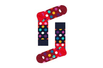 Happy Socks Big Dot Block Sock (Red/Blue/Burgundy, Size 36-40)