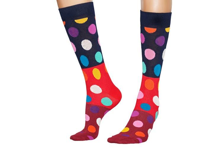 Happy Socks Big Dot Block Sock (Red/Blue/Burgundy, Size 36-40)