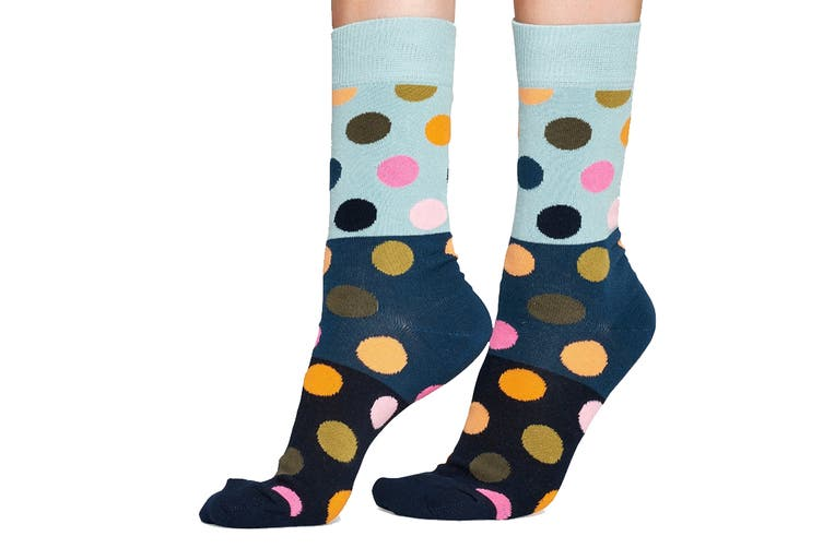 Happy Socks Big Dot Block Sock (Black/Blue/Orange, Size 41-46)