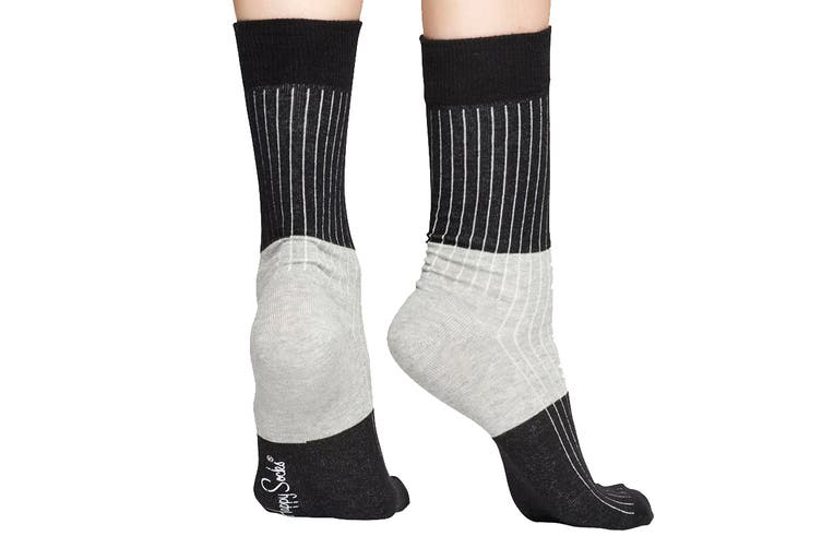 Happy Socks Block Rib Sock (Black/Grey, Size 41-46)