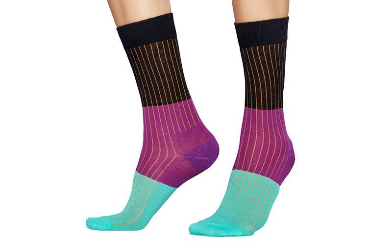 Happy Socks Block Rib Sock (Black/Purple/Turquoise, Size 41-46)