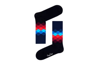Happy Socks Faded Diamond Sock (Black, Size 41-46)