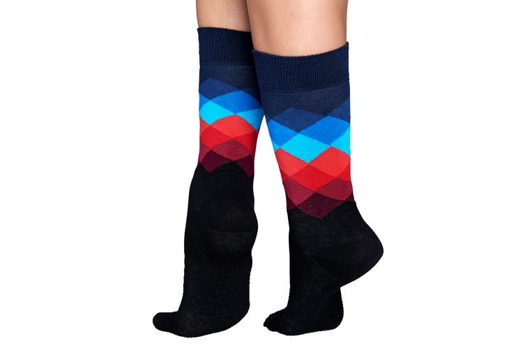 Happy Socks Faded Diamond Sock (Black, Size 41-46)