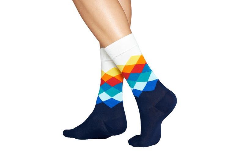 Happy Socks Faded Diamond Sock (White, Size 41-46)