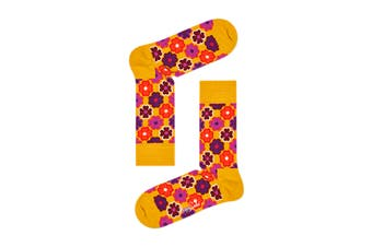Happy Socks Flower Power Sock (Orange, Size 36-40)