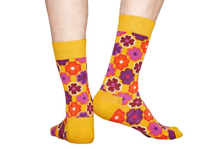 Happy Socks Flower Power Sock (Orange, Size 36-40)