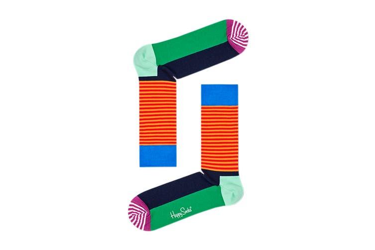 Happy Socks Half Stripe Sock (Blue/Orange/Purple, Size 36-40)