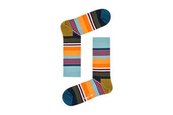 Happy Socks Multi Stripe Sock (Blue/Green/Orange/Pink, Size 41-46)