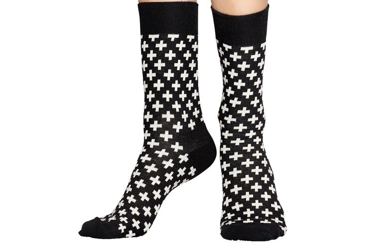 Happy Socks Plus Sock (Black/White, Size 41-46)