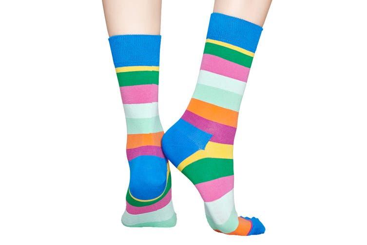Happy Socks Stripe Sock (Blue/Green/Pink/Yellow, Size 41-46)