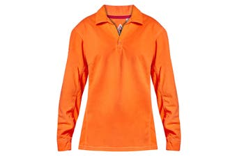 Hard Yakka Women's Bulwark iQ Flame Resistant Hi-Vis Long Sleeve Polo - Orange