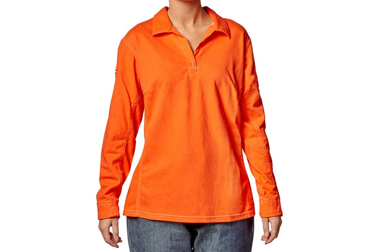 Hard Yakka Women's Bulwark iQ Flame Resistant Hi-Vis Long Sleeve Polo (Orange, Size XL)