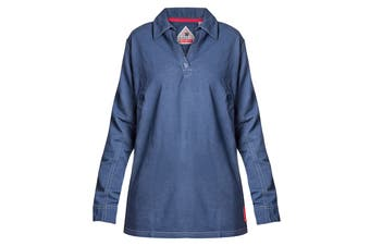 Hard Yakka Women's Bulwark iQ Flame Resistant Long Sleeve Polo (Dark Blue, Size M)