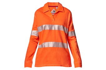 Hard Yakka Women's Bulwark iQ Flame Resistant Hi-Vis Taped Long Sleeve Polo (Orange, Size 2XL)