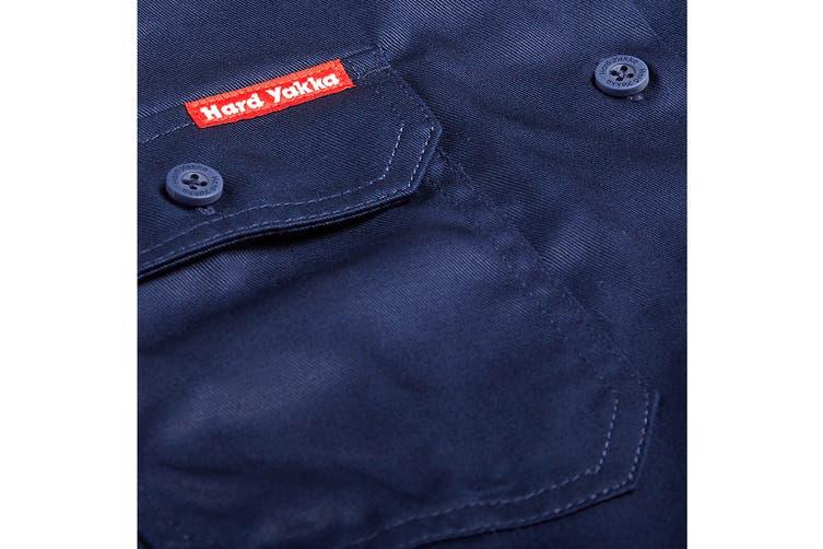 Hard Yakka Women's Cotton Drill Short Sleeve Shirt (Navy, Size 14)
