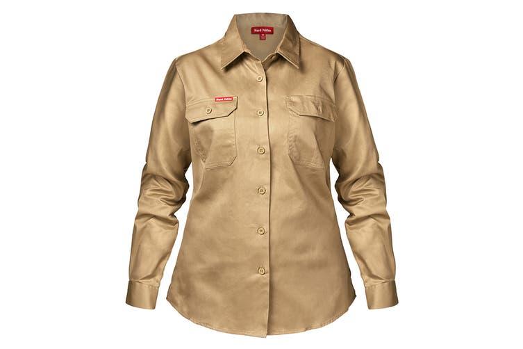 Hard Yakka Women's Cotton Drill Long Sleeve Shirt (Khaki, Size 12)