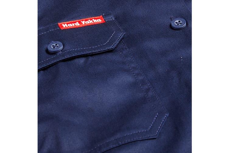 Hard Yakka Women's Cotton Drill Long Sleeve Shirt (Navy, Size 14)
