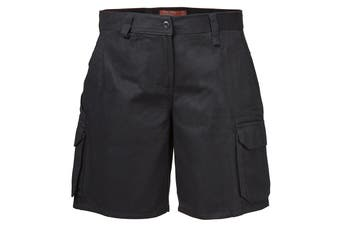 Hard Yakka Women's Foundations Drill Cargo Short (Black)