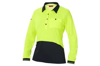 Hard Yakka Women's Koolgear Hi-Vis Long Sleeve Polo (Yellow/Dark Navy, Size 2XL)