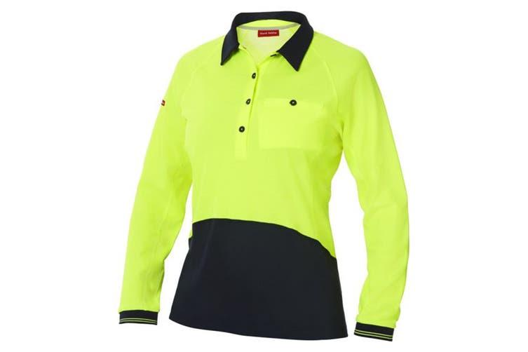 Hard Yakka Women's Koolgear Hi-Vis Long Sleeve Polo (Yellow/Dark Navy, Size 2XL)