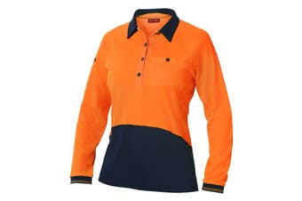 Hard Yakka Women's Koolgear Hi-Vis Long Sleeve Polo (Orange/Dark Navy, Size XL)