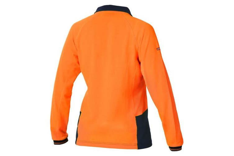 Hard Yakka Women's Koolgear Hi-Vis Long Sleeve Polo (Orange/Dark Navy, Size 2XL)