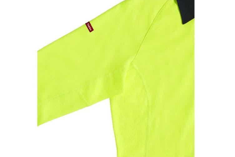 Hard Yakka Women's Koolgear Hi-Vis Short Sleeve Polo (Yellow/Dark Navy, Size 2XL)