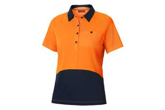 Hard Yakka Women's Koolgear Hi-Vis Short Sleeve Polo (Orange/Dark Navy, Size 2XS)