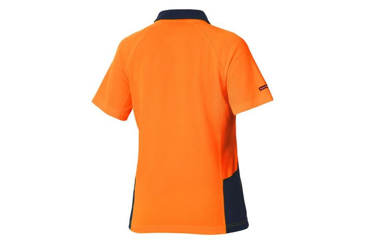 Hard Yakka Women's Koolgear Hi-Vis Short Sleeve Polo (Orange/Dark Navy, Size 2XL)