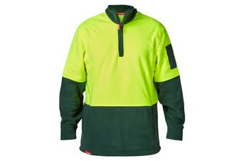 Hard Yakka Men's Hi-Vis Two Tone Polar Fleece 1/4 Zip Jumper (Yellow/Green)
