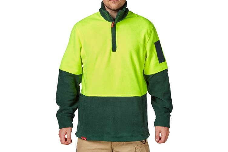 Hard Yakka Men's Hi-Vis Two Tone Polar Fleece 1/4 Zip Jumper (Yellow/Green, Size 2XS)