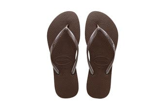 Havaianas Slim Thongs (Dark Brown)
