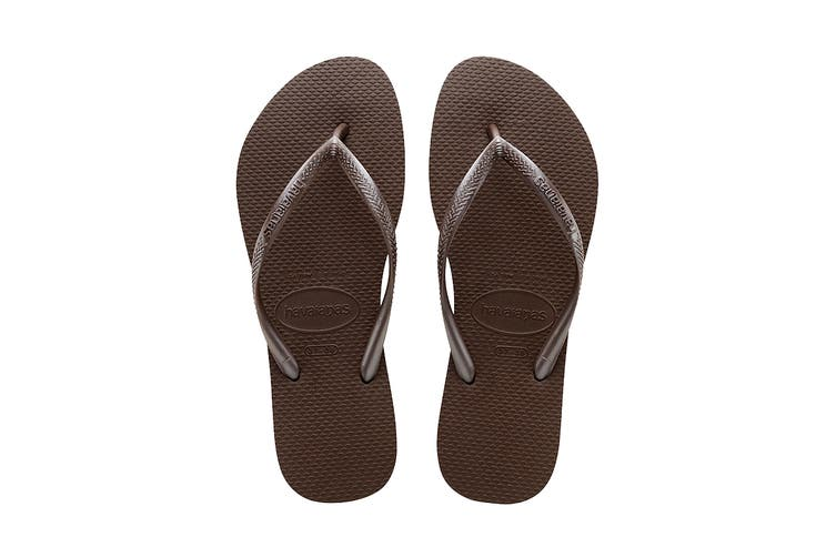 Havaianas Slim Thongs (Dark Brown, Size 35/36 BR)