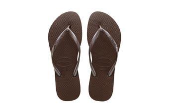 Havaianas Slim Thongs (Dark Brown)