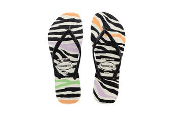 Havaianas Slim Animals Thongs (White/Black/Black)