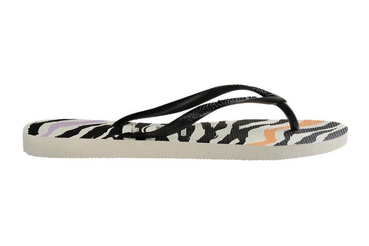 Havaianas Slim Animals Thongs (White/Black/Black, Size 35/36 BR)