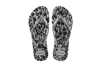 Havaianas Slim Animals Thongs (Ice Grey/Silver, Size 35/36 BR)