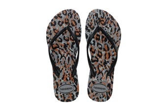 Havaianas Slim Animals Thongs (Steel Grey/Black)
