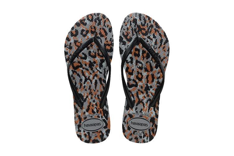 Havaianas Slim Animals Thongs (Steel Grey/Black, Size 39/40 BR)