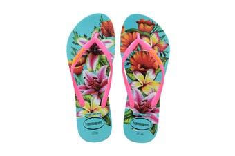Havaianas Slim Floral Thongs (Blue)